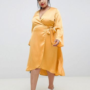 Lost Ink Plus Wrap Front Midi Dress In Satin at asos.com
