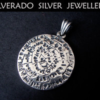 Sterling Silver 925 Ancient Phaistos Disc Pendant 26 mm
