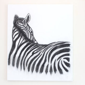 "23""x27"", Big Size Original Charcoal Zebra Painting, Charcoal pencil on canvas, Office wall art, Black art, Large size, Pencil Drawing,"