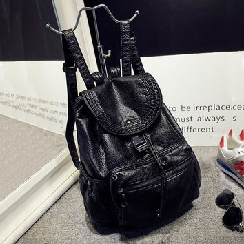 Braided Black Leather Backpack Daypack Travel Bag Motorcycle Bag