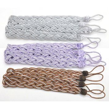 2Pcs Window Rome Curtain Cord Rope Buckle Tiebacks Braided Tie Back 8 Colors