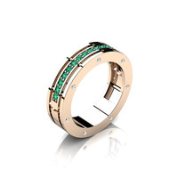 Caravaggio Ladies 14K Rose Gold Emerald Diamond Wedding Band G1001F-14KRGDEM