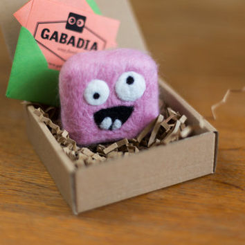 Felted soap. Pink monster. Home decor. Gift for children. Supernatural. Goofy and funny keepsakes