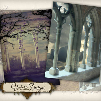 INSTANT DOWNLOAD Gothic Backgrounds ATC images digital background instant download printable collage sheet 184