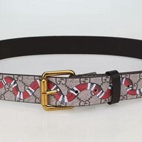 PEAPON Gucci' Unisex Fashion Personality Classic Snake Pattern Logo Print Needle Buckle Cowhide Genuine Leather Belt Waistband