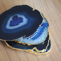Set of 4 Gold Rimmed Agate Coasters - Gold Plated Blue Agate Coasters, Gold Plated Coasters