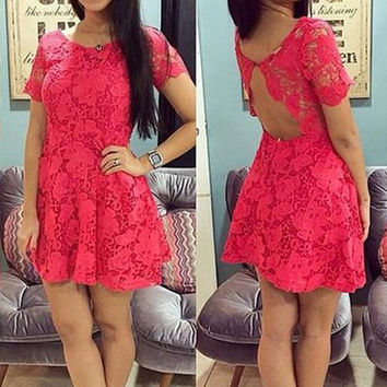 Fashion Women Crew Neck Short Sleeve Lace Crochet Patchwork Sexy Backless Dress Red S M L XL = 1695614724