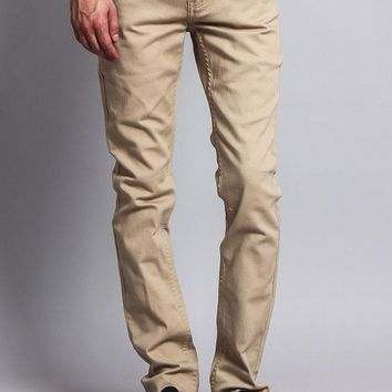 Men's Skinny Fit Colored Jeans DL937 (Khaki)