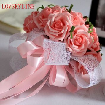Buque De Noiva 2017 Romantic Holding 30pcs Rose Flowers Sweet Rose Lace Bridal Bouquet Wedding Bouquets