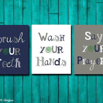 Bathroom Wall Art - Brush Your Teeth - Bathroom Sign - Wash Your Hands - Bathroom Decor - Say Your Prayers - Bathroom Art - Kids Bath Art