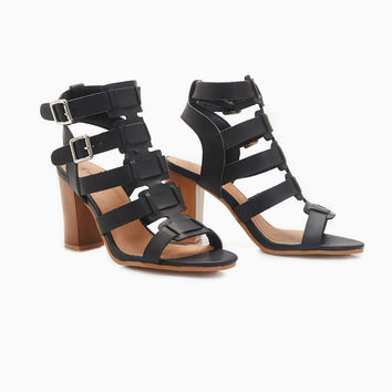 Vegan Leather Heels With Buckles | Wet Seal
