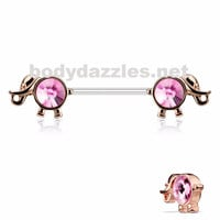 Round Rose Gold and Pink Gemmed Elephant Nipple Ring 14ga 316L Surgical Steel Nipple Barbells