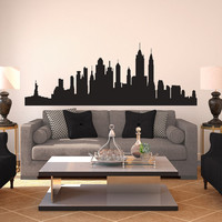 New York City Skyline Silhouette Large  Wall Decal by danadecals