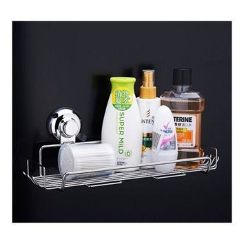 Stainless Steel Bathroom Storage Basket Suction Cup Hook Holder Organizer