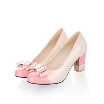 Ladies Shoes Pumps Autumn Round Toe Basic Office Chunky High Heels Shoes Women Bow Candy Color Shoes Plus Size 9 10