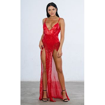 Indie XO Mystery Girl Red Semi Sheer Sequin Spaghetti Strap Sleeveless Plunge V Neck Backless Double Slit Maxi Dress