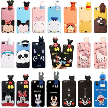 3D Cartoon Cute Animals TPU Silicone Phone Case Cover For iPhone 6 6s 7 Plus AU