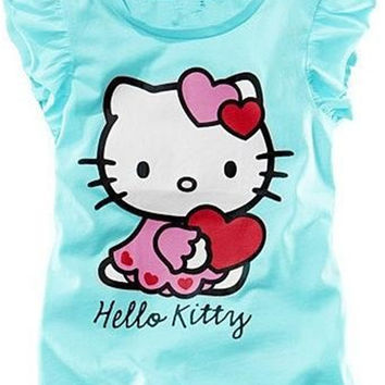 New 2016 Baby Girls Hello Kitty Short Sleeve T shirt Children Summer Clothes Kids T-shirt