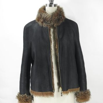 ST JOHN Black Leather Jacket with Fur Trim and Lining Size M Gorgeous!