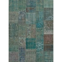 Patchwork Green Over Dyed Rug