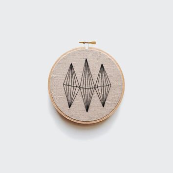 """Geometric Embroidery in Black - 5"""" Embroidery Hoop"""