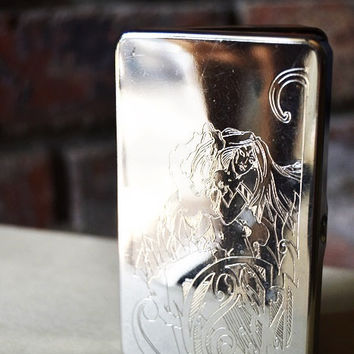 Beautiful Vintage Silver Cigarette Case with Lady Engraving,Silver Engraved Cigarette Case