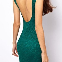 $ 26.69 High-elastic Round-Neck Backless Lace Sexy & Clubwear Dresses