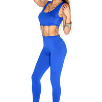 Sexy Royal Blue Sleeveless Chain Link Attachment Jumpsuit