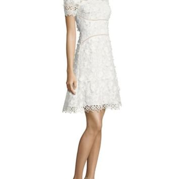 Alice + Olivia - Fey Embroidered Faux Leather Lace Dress