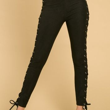 High Waisted Pants With Side Lace Up Detail (8IP0945H)