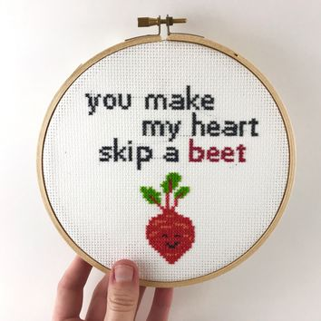 "Romantic Sweet Cross Stitch Saying, Clever Word Pun - You Make My Heart Skip a ""Beet"""