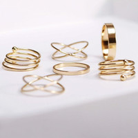 Assorted Shapes Trendy Knuckle Stackable Midi Gold Colored Women's  Rings - Set of 6 Shown