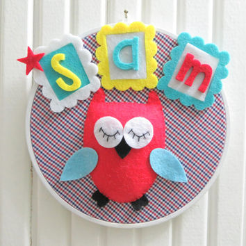Cute Red Owl, White Wooden Hoop Framed, Personalized Name Baby Wall Art, For Baby Boy