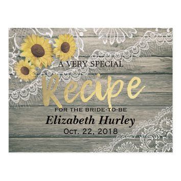 Rustic Wood Sunflowers Lace Bridal Shower Recipe Postcard