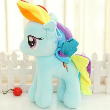 20cm Candy Color Unicorn Rainbow Little Ponyed Horse Decoration Stuffed Plush Toys Animals Soft Dolls Kids Children Gifts N012