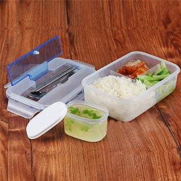 Conveninet Modern Ecofriendly Outdoor Portable Microwave Lunch Box with Soup Bowl Chopsticks Spoon Food Containers 1000mL