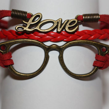 WISDOM~ Red Glasses Love Bracelet, Ophthalmologist, Optometrist, Optician, Eye Glasses, Geekery Bracelet, Nerd Gift, ilovecheesygrits