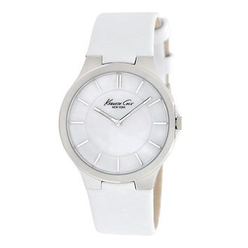 Kenneth Cole KC2704 Women's New York White MOP Dial White Leather Strap Watch