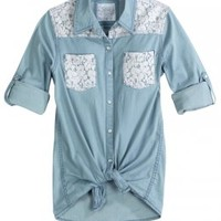 Lace Embellished Denim Shirt | Girls Shirts Clothes | Shop Justice