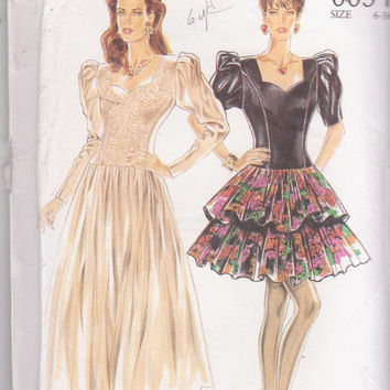 Vintage special occasion dress pattern with tiered mini skirt, or full calf length skirt misses size 6 8 10 12 14 16 New Look 6634 UNCUT