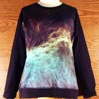 Sweatshirt  Galaxy  Cosmic Blue Green Nebula Wave T-Shirt Shirt COLD Green/Black Women Tshirt Unisex Size M/L