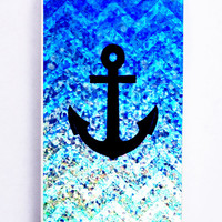 Chevron Anchor On Glitter for Iphone 5 / 5s Hard Cover Plastic