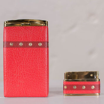Vintage Red Leather and Gold Tone Metal Cigarette Case & Lighter Unused 1950s Deadstock Bomart Japan Smoker's Set