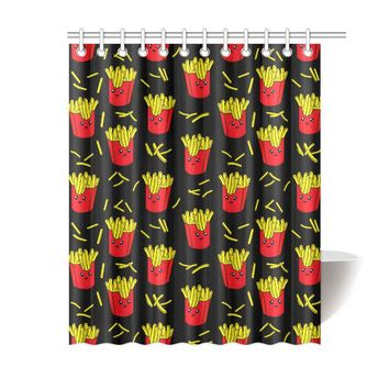 French Fries Polyester Shower Curtain 60x72 inch