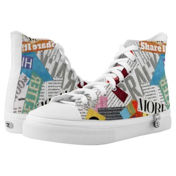 paper collage High-Top sneakers