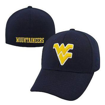 Licensed West Virginia Mountaineers NCAA One Fit Premium Cuff Hat Cap Top of the World KO_19_1