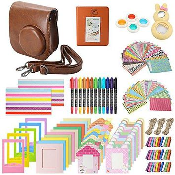 """Xpix Accessory Kit for Fujifilm Instax Mini 8, 8+ & 9 includes, (Brown) Case, Album, selfie mirror, colored close up Lenses, 40 film frames, 12 color markers & Complete Bundle"""