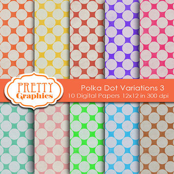 DIGITAL PAPERS - Polka Dot Variations 3 - Commercial Use - 12x12 JPG Files - Scrapbook Papers - High Quality 300 dpi