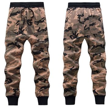 Men Fleece Camouflage Sweatpants Hip-hop Drop Crotch Harem Pants Casual Army Camouflage male Elastic Waist Tractical Trousers 02