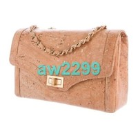 NWT IN BOX CHANEL CHEVRON QUILTED CORK FLAP BAG W/GOLD TONE HARDWARE BROWN
